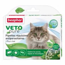 Pipettes répulsives antiparasitaires Veto pure chat