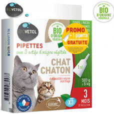 Pipettes insectifuges BIO pour Chat et Chaton