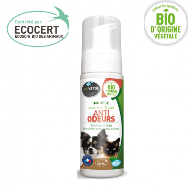 Shampoing Sec Mousse Anti-Odeurs BIO pour chat - BIOVETOL - Toilettage et shampoing