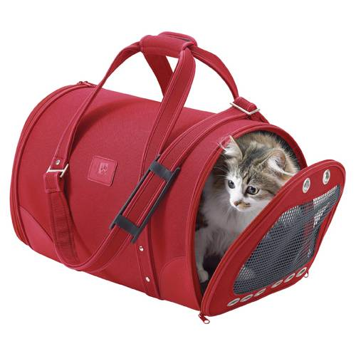 sac de transport parisien rouge pour chat bobby auberdog. Black Bedroom Furniture Sets. Home Design Ideas