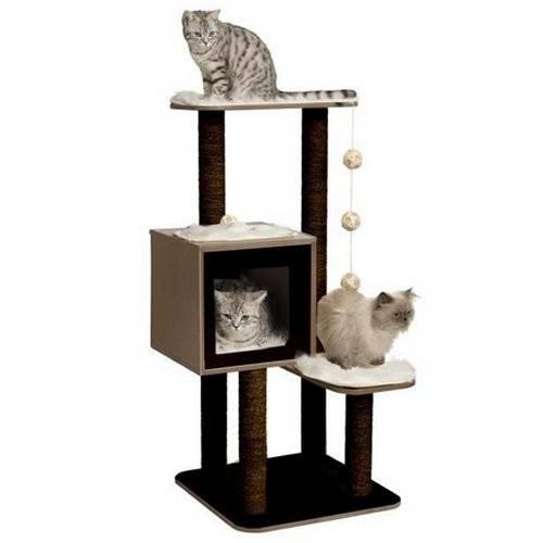 arbre chat base haute noir pour chat vesper auberdog