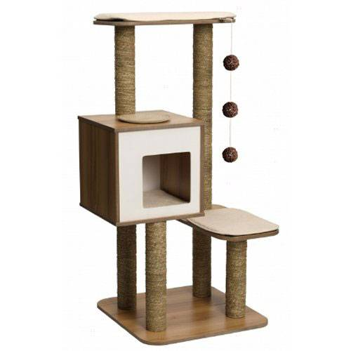 arbre chat base haute noyer pour chat vesper auberdog. Black Bedroom Furniture Sets. Home Design Ideas