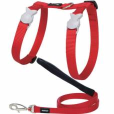 Harnais laisse chat Red Dingo Basic Rouge