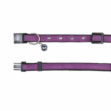 Collier velours mauve pour chat - 1