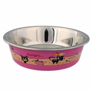 Gamelle Hungry rose pour chat - Trixie