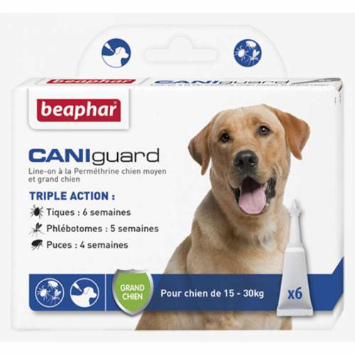 anti tique puce phl botome caniguard grand chien pour chien beaphar. Black Bedroom Furniture Sets. Home Design Ideas