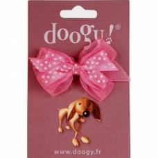 Noeud barrette Doogy pois rose