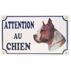Plaque Attention au chien American Staff