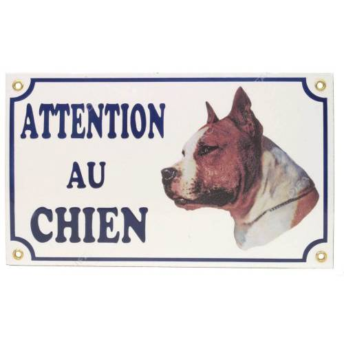 plaque attention au chien american staff pour chien difac auberdog. Black Bedroom Furniture Sets. Home Design Ideas