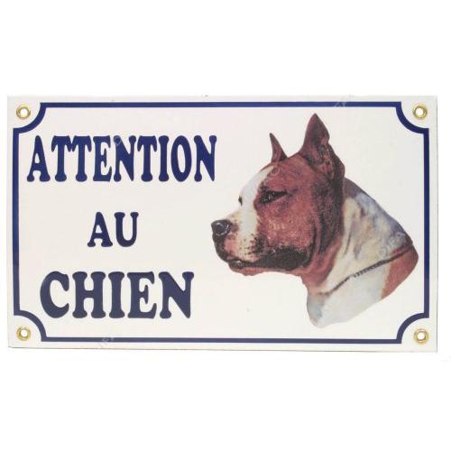 plaque attention au chien american staff pour chien difac auberdog. Black Bedroom Furniture Sets. Home Design Ideas
