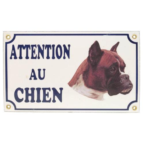 plaque attention au chien boxer pour chien difac auberdog. Black Bedroom Furniture Sets. Home Design Ideas