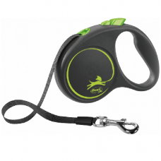 Laisse enrouleur sangle Flexi Black DESIGN VERT