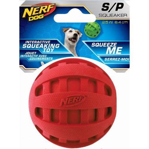 Balle Nerf sonore caoutchouc rouge pour chien - Nerf Dog