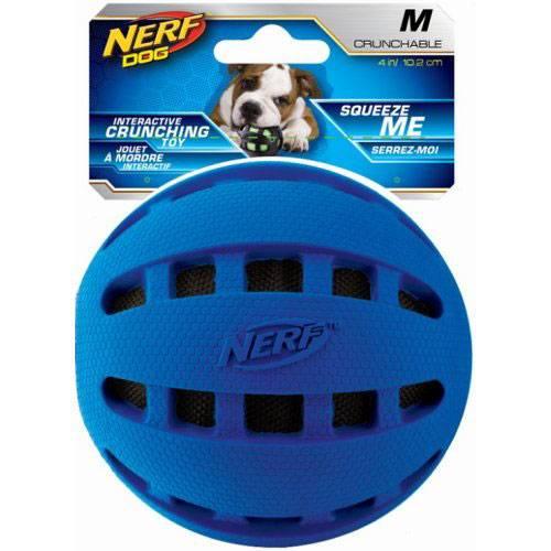 Balle Nerf sonore caoutchouc bleu pour chien - Nerf Dog
