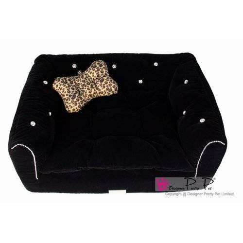 Canap luxus noir pour chien pretty pet panier et for Canape ultra moelleux