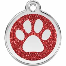 Médaille pailletée Red Dingo rouge motif Patte