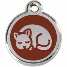 Médaille Red Dingo marron motif Chat