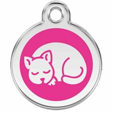 Médaille Red Dingo rose bonbon motif Chat
