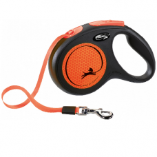 Laisse enrouleur sangle Flexi New NEON ORANGE