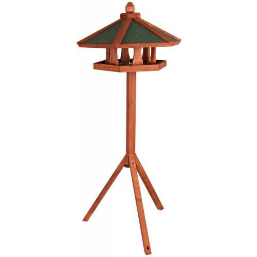 mangeoire oiseau sur pied natura hexagone en bois pour. Black Bedroom Furniture Sets. Home Design Ideas