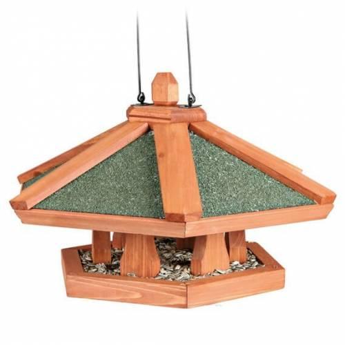 mangeoire oiseau suspendue natura hexagone en bois pour oiseau natura auberdog. Black Bedroom Furniture Sets. Home Design Ideas