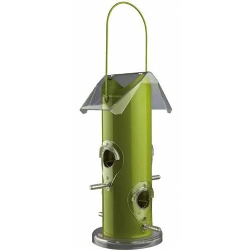 Mangeoire oiseaux distributeur graines m tal vert pour - Graines de tournesol pour oiseaux ...