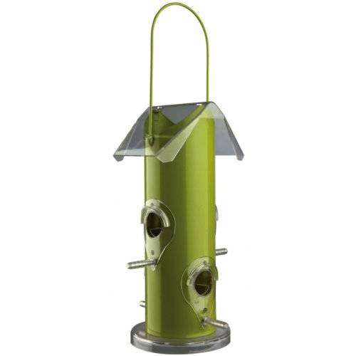 Mangeoire oiseaux distributeur graines m tal vert pour - Distributeur de graines pour oiseaux ...