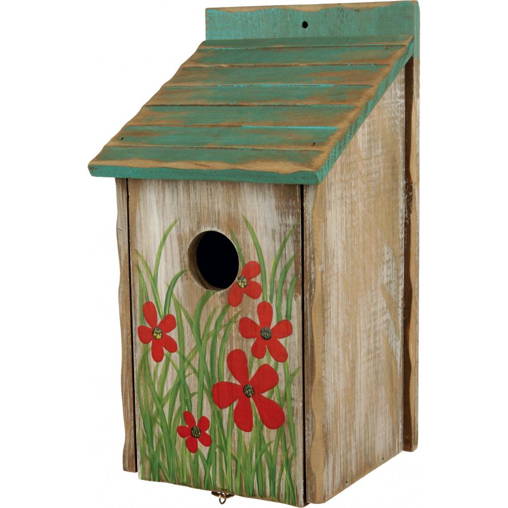 Nichoir fleuri en bois pour oiseaux pour oiseau trixie - Nichoir pour oiseaux ...